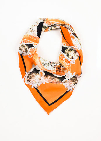 Givenchy Orange, Black, and Grey Silk Kaleidoscope Print Scarf Frontview