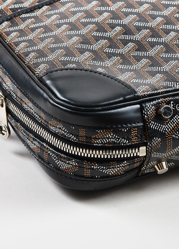 "Black Brown White Goyard Painted Monogram Canvas ""Ambassade"" Bag Detail 2"