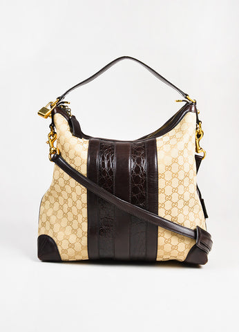 "Gucci Tan GG Logo Canvas Brown Crocodile Leather ""Secret Medium Hobo"" Bag Frontview"