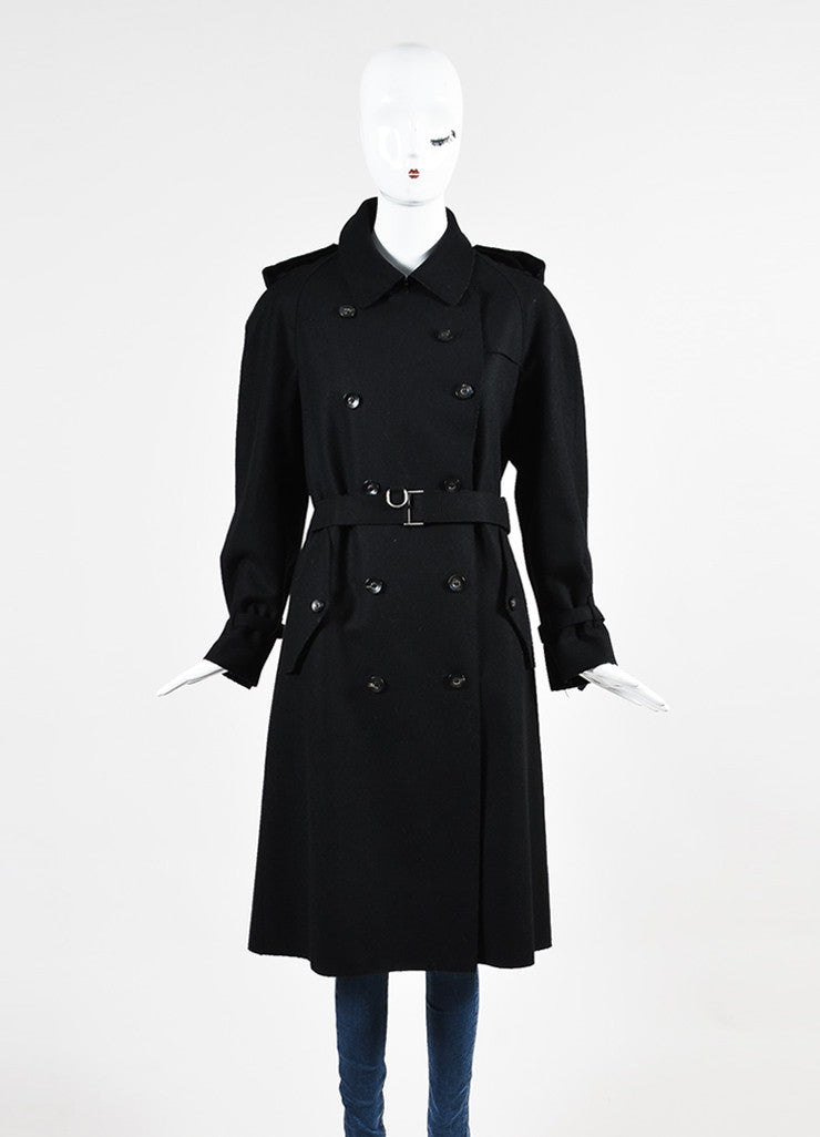 Gucci Black Wool Double Breasted Button Up Belted Trench Coat Frontview