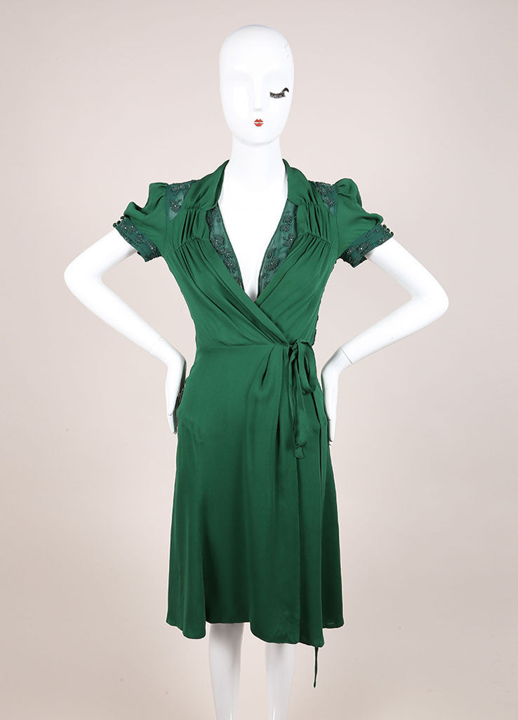 Gucci Green Beaded Short Sleeve Open Back Wrap A-Line Dress Frontview