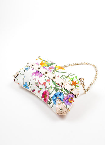 Multicolor and Cream Gucci Flora Collection Horsebit Small Flap Clutch Sideview