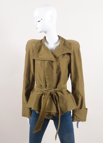 "Isabel Marant Army Green Cotton Peplum Military ""Janey"" Jacket Frontview"