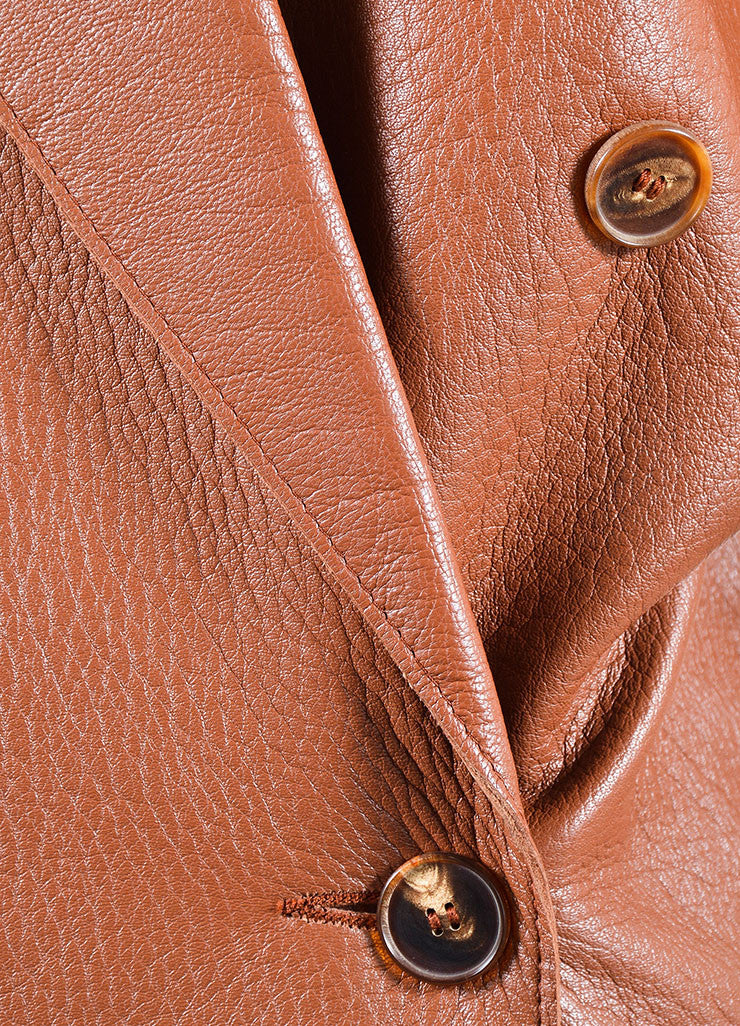 Jean Paul Gaultier Femme Brown Leather Double Breasted Coat Detail