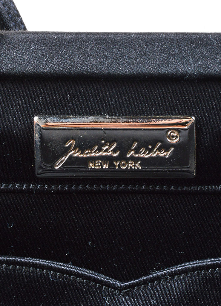 Judith Leiber Black Velvet Rhinestone Clasp Shoulder Strap Rectangle Evening Bag Brand