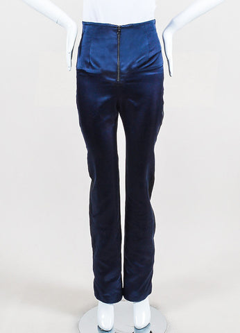 Karolina Zmarlak Navy and Black Silk Taffeta Trim High Waist Dress Pants Frontview