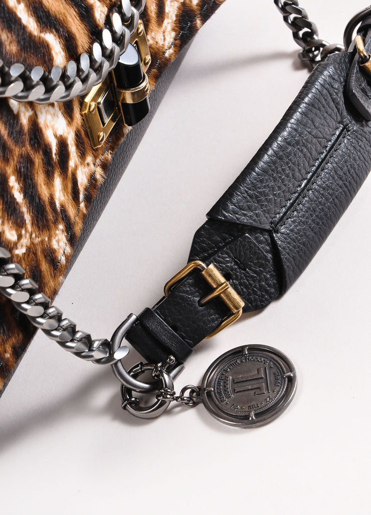 "Lanvin Black Leather Leopard Print Pony Hair Chain Strap ""Happy"" Handbag Detail 3"