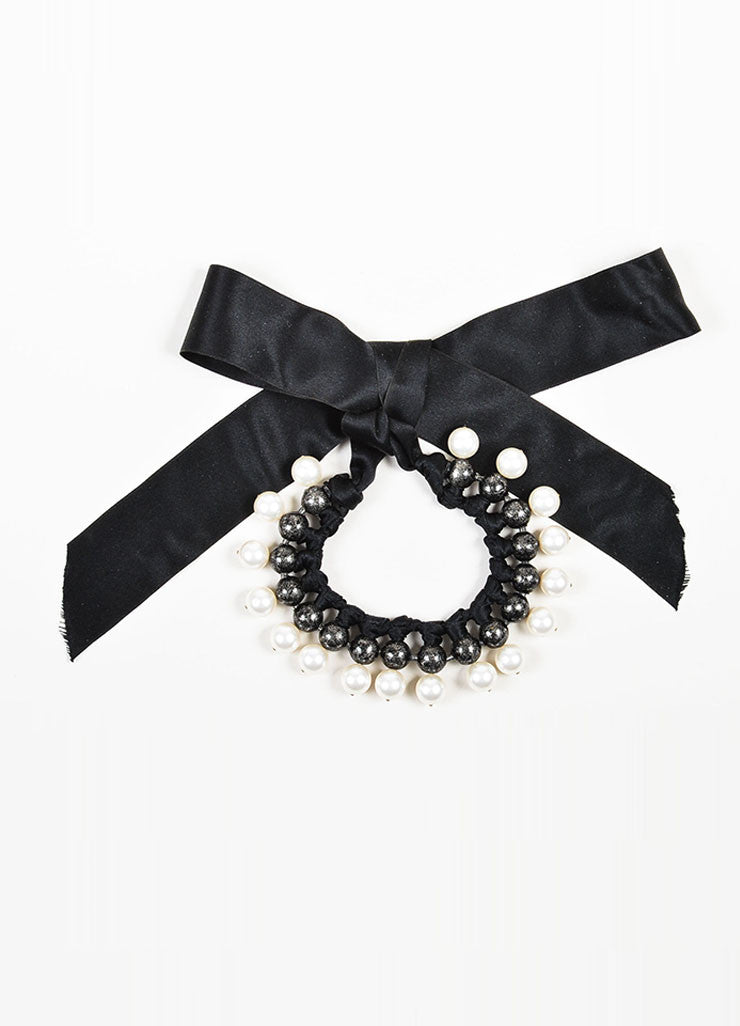 Black, Gunmetal, and Faux Pearl Lanvin Beaded Collar Ribbon Necklace Frontview
