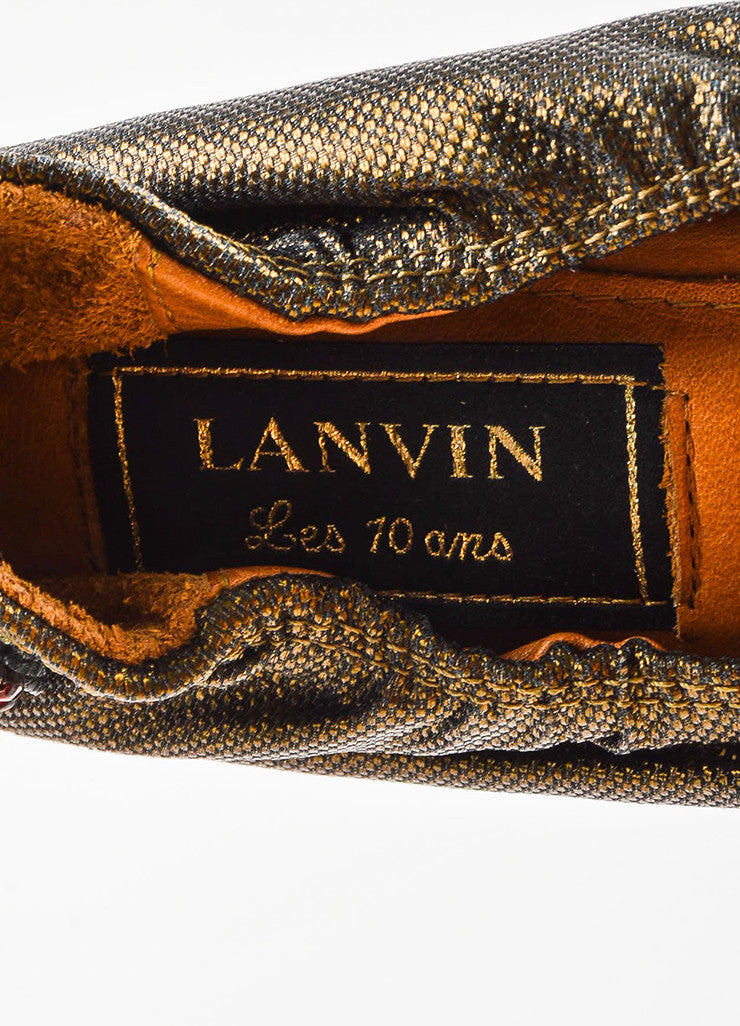 "Lanvin Bronze and Red Rhinestone Heart ""10th Anniversary"" Ballet Flats Brand"