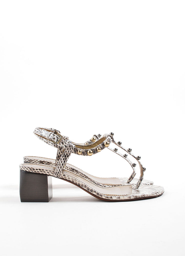 Lanvin White and Grey Snakeskin Studded Chunky Heel Thong Sandals Sideview