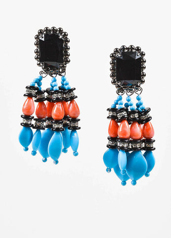Black, Turquoise, and Coral Lawrence Vrba Beaded Crystal Tassel Clip On Earrings Frontview