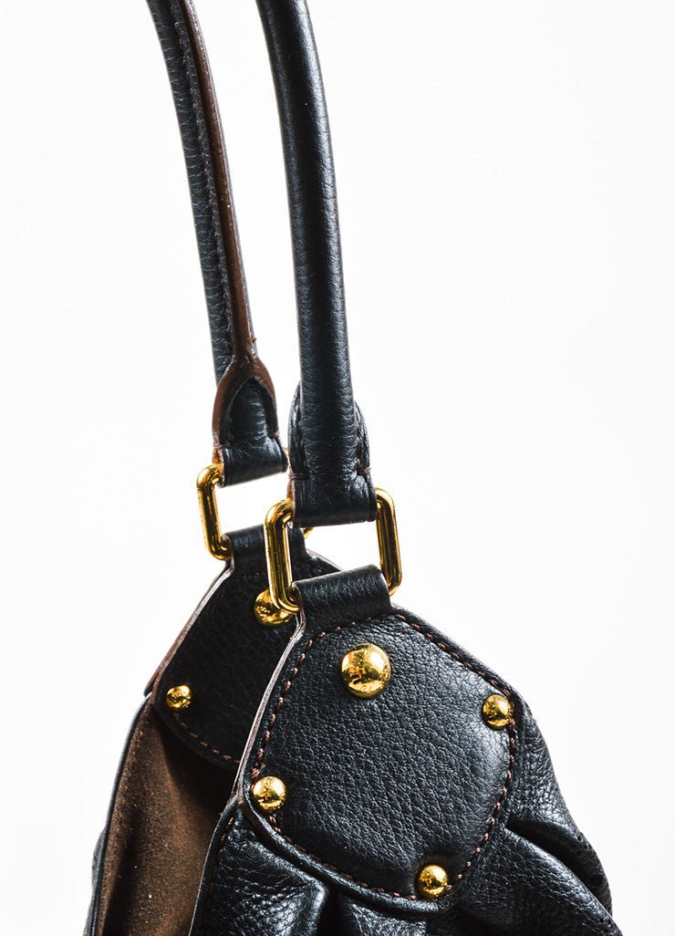 "Louis Vuitton Black ""Mahina"" Leather Monogram ""L"" Hobo Shoulder Bag Detail 2"