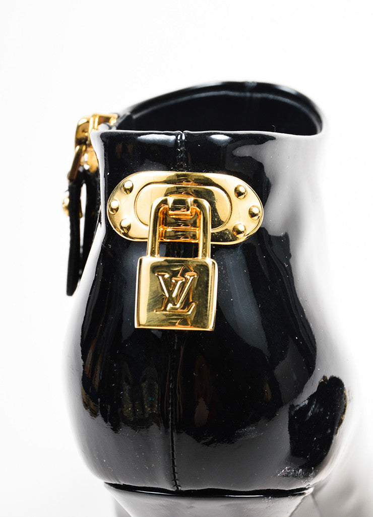 Louis Vuitton Black Patent Leather Gold Toned Padlock Peep Toe Booties Detail