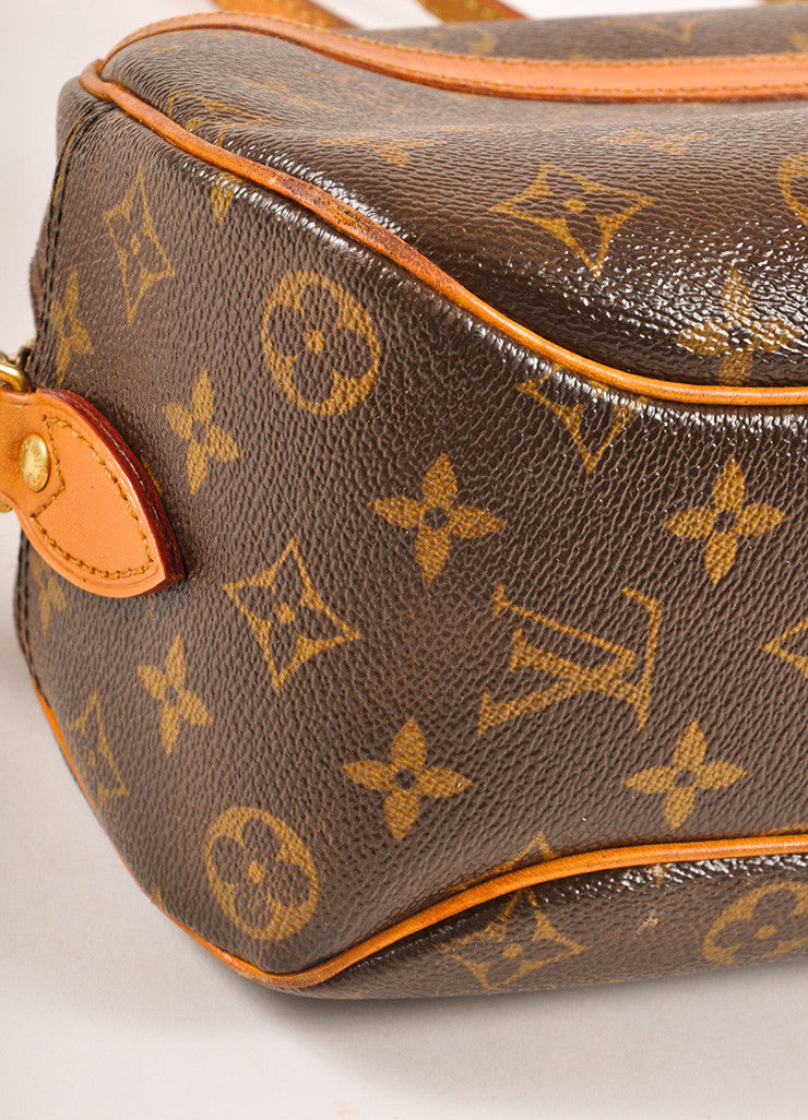 "Louis Vuitton Brown and Tan Coated Canvas Leather Monogram ""Blois"" Crossbody Bag Detail"