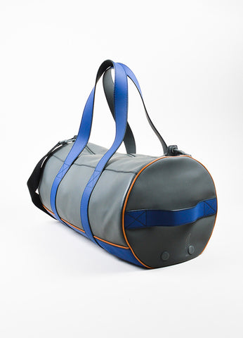 "Men's Bally Grey and Blue Rubberized Leather ""Sirtaki"" Travel Duffel Bag Sideview"