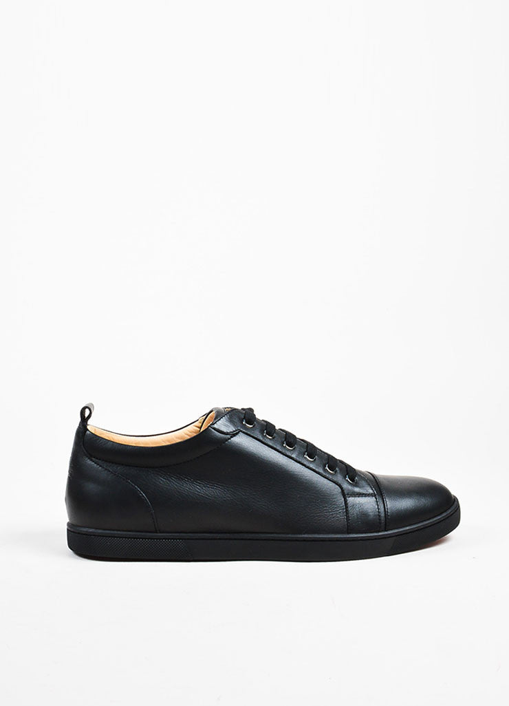 "Men's Black Christian Louboutin Leather ""Louis Junior"" Sneakers Side"