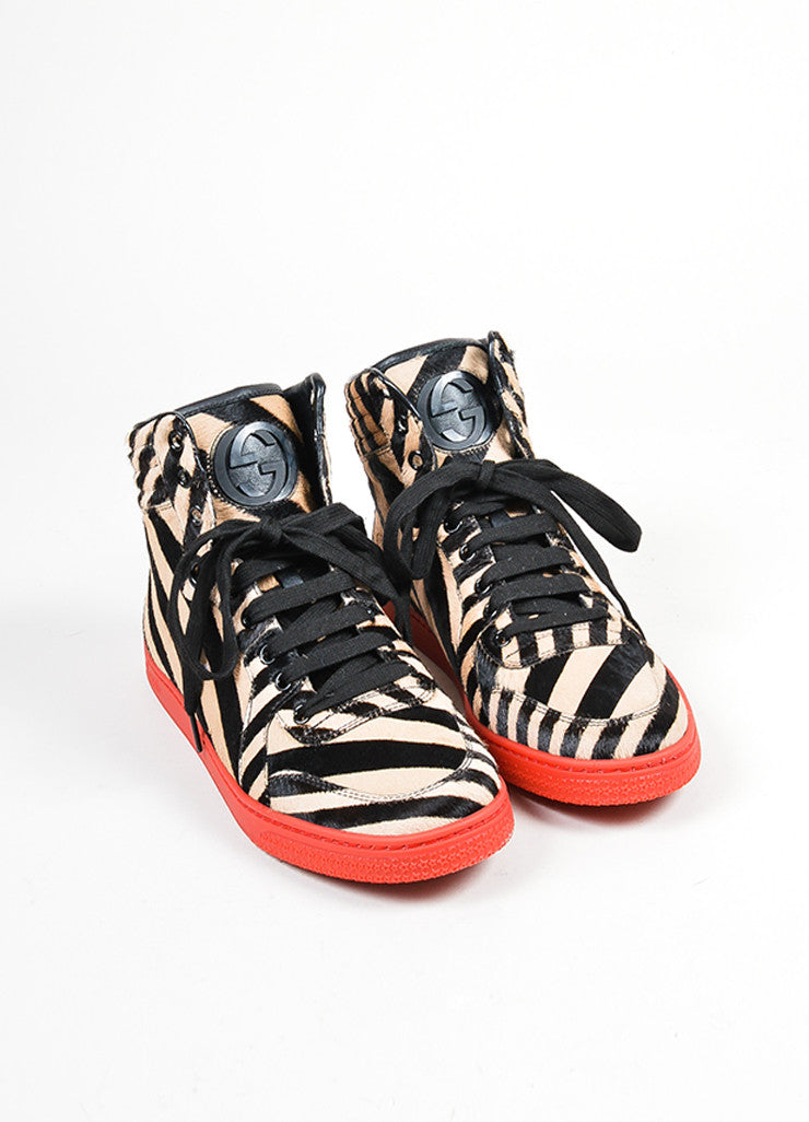 "Red Gucci Zebra Stripe Pony Hair ""Coda"" High Top Sneakers Frontview"
