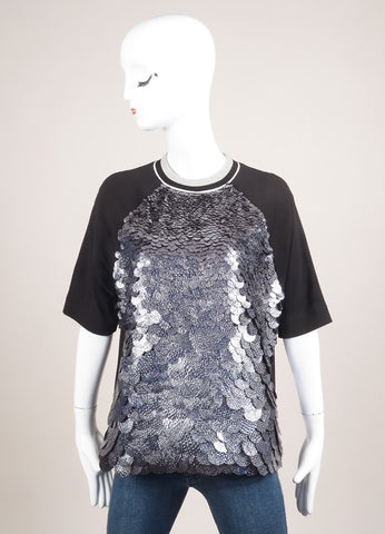 MSGM New With Tags Black and Silver Toned Paillettes Embellished Short Sleeve Top Frontview
