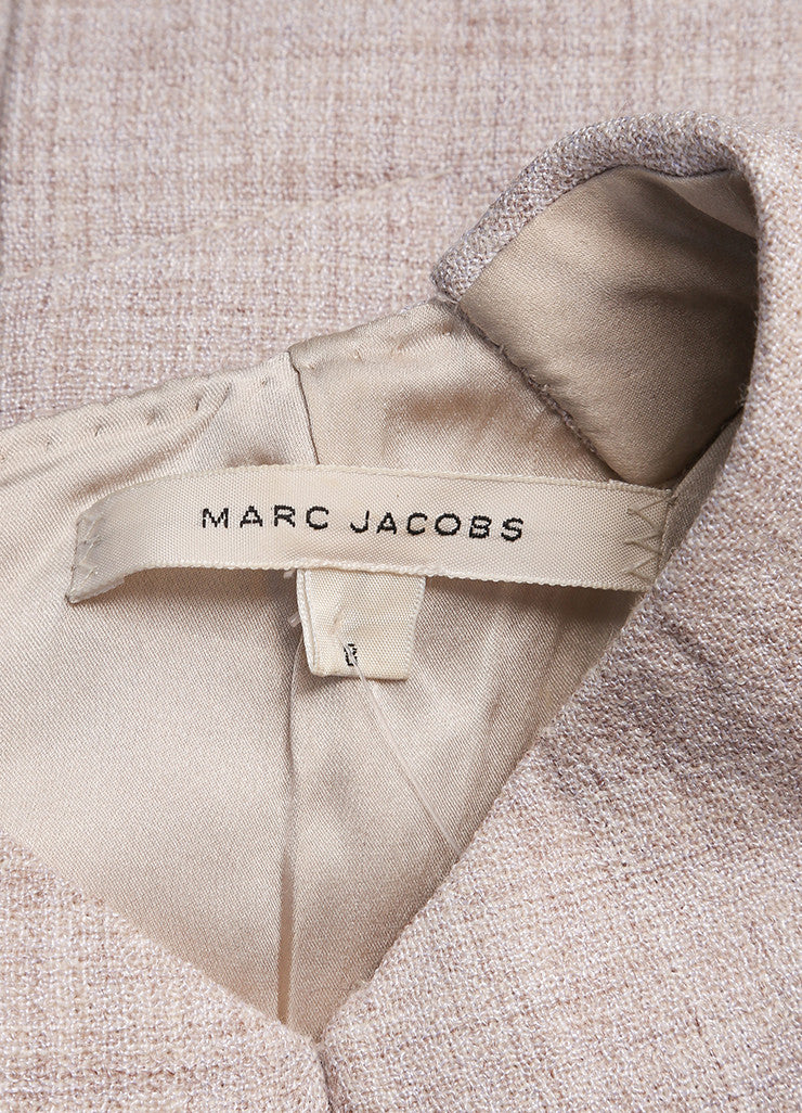 Marc Jacobs Beige Woven Sleeveless Collared Sheath Dress Brand
