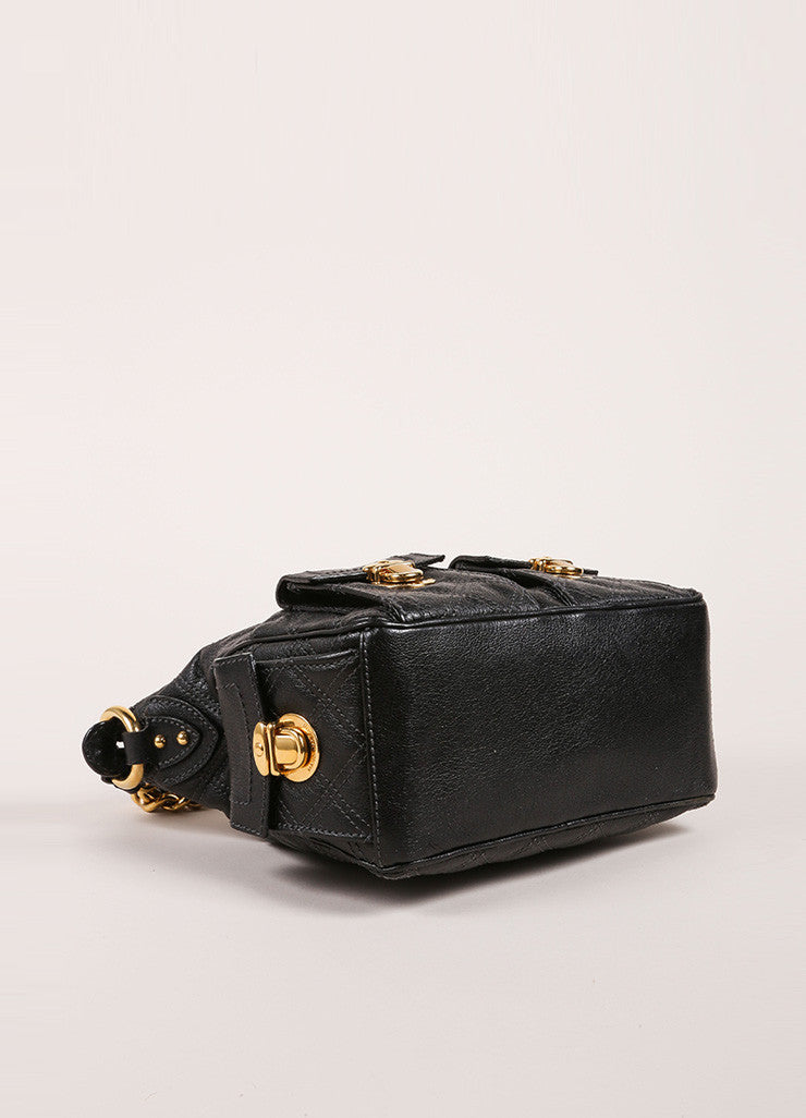 Marc Jacobs Black Quilted Leather Multipocket Chain Hobo Bag Bottom View