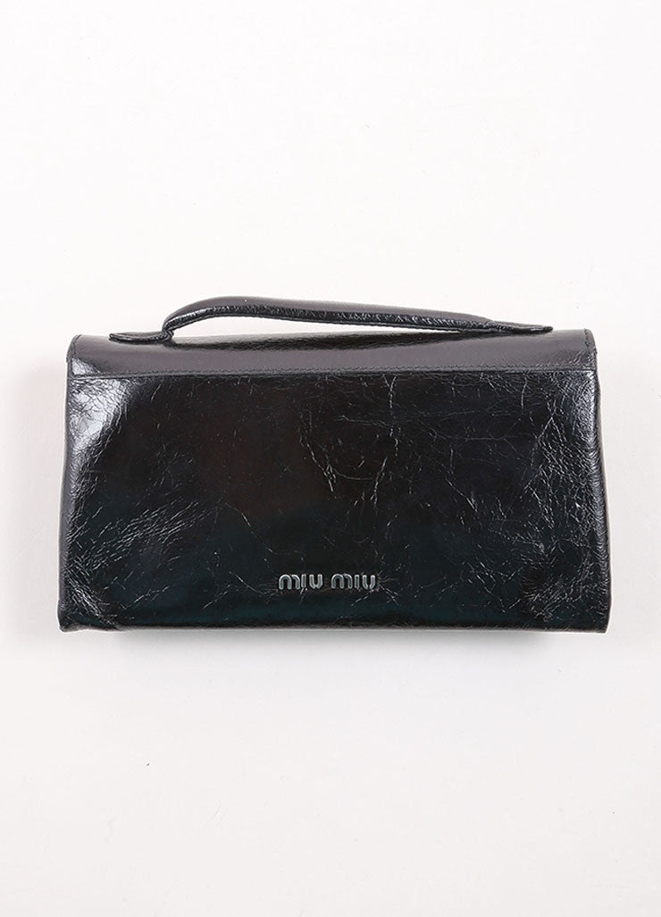 "Miu Miu Black Crackle Leather Jewel ""Shine Cristal"" Flap Wallet Backview"
