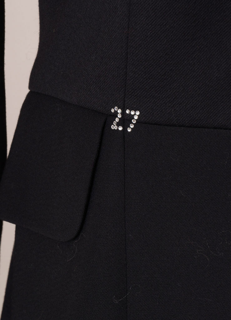 Moschino Cheap & Chic Black Wool Rhinestone Embellished Tailored Blazer Detail