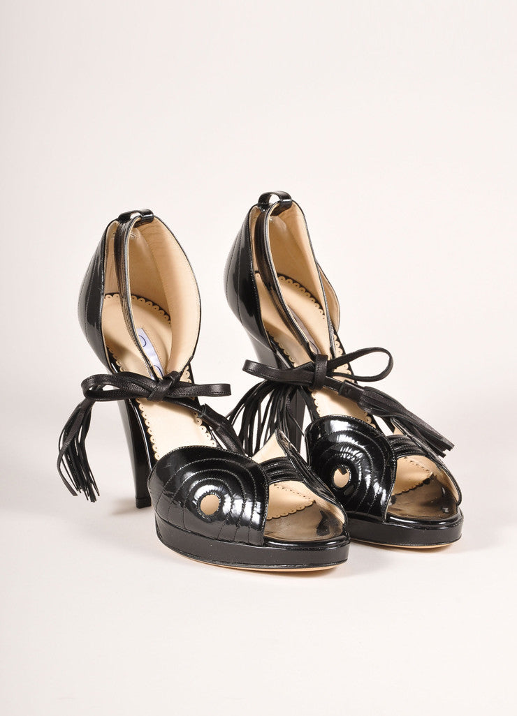 Oscar de la Renta Black Patent Leather Ankle Strap Tassel Platform Sandals  Frontview