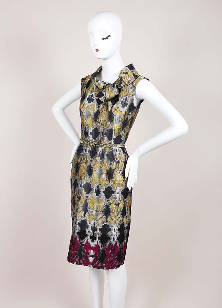 Oscar de la Renta Multicolor Metallic Jacquard Sleeveless Belted Sheath Dress Sideview