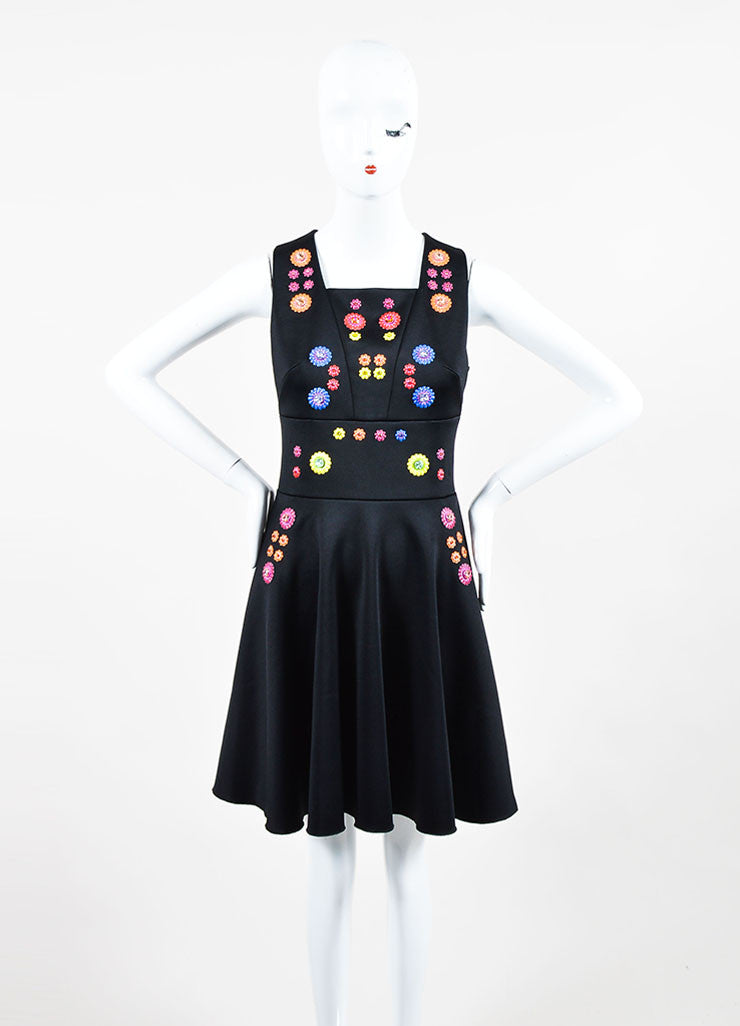 "Black and Multicolor Peter Pilotto Embellished Sleeveless ""Cali"" A-Line Dress Frontview"