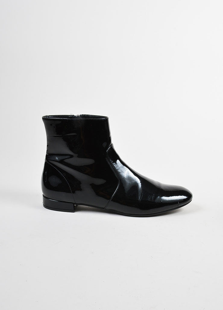 Black Prada Patent Leather Flat Ankle Boots Sideview