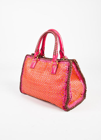 "Prada ""Madras"" ""Mandarin"" Orange and ""Peoni"" Pink Leather Woven Crossbody Tote Sideview"