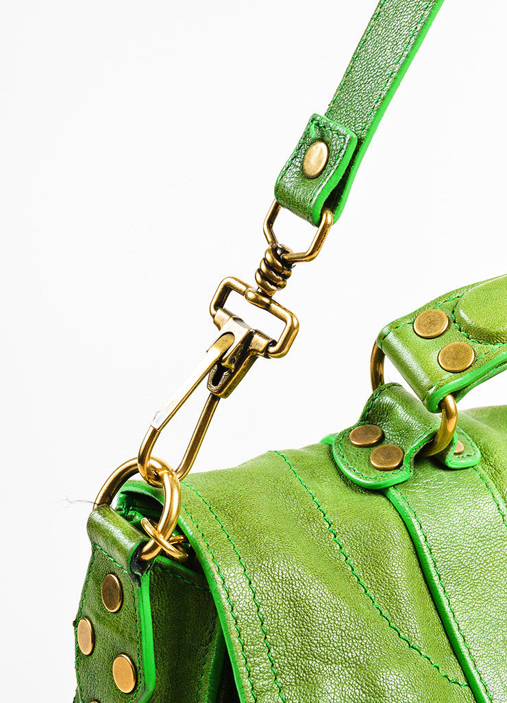 "Proenza Schouler Kelly Green Leather Medium Crossbody ""PS1"" Messenger Bag Detail 3"