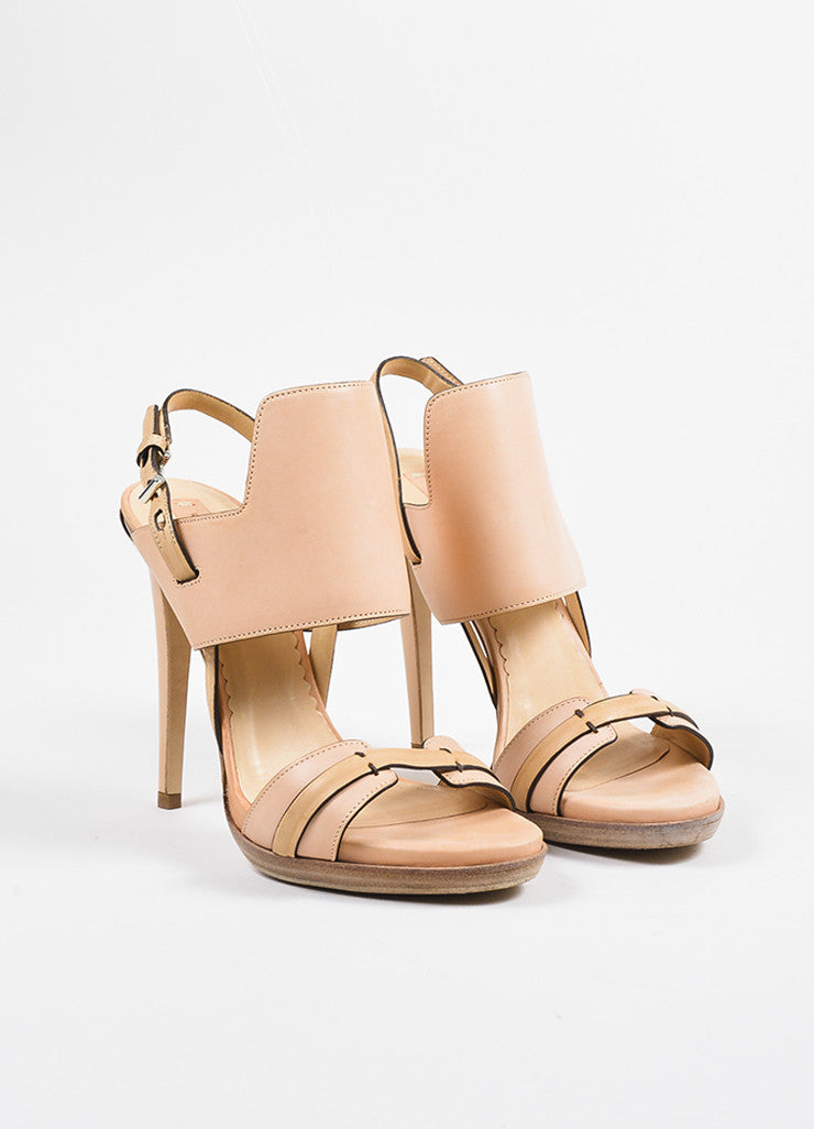 Reed Krakoff Pink, Silver, and Beige Leather Platform Stiletto Sandals Frontview