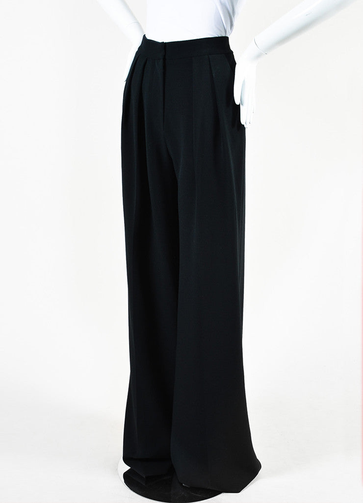 "Roksanda Black Crepe Wide Leg High Waist ""Cady"" Trousers Sideview"