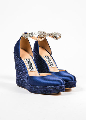 Navy Blue Salvatore Ferragamo Silk Satin Chain Strap Espadrille Wedges Frontview
