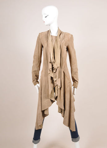 Sass & Bide Tan Suede Leather Draped Waterfall Lapel Long Sleeve Coat Frontview