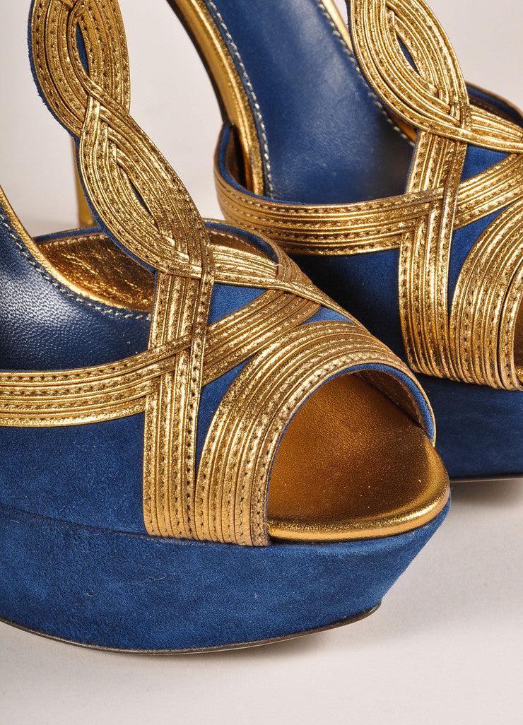 Sergio Rossi New In Box Blue and Bronze Suede Leather T-Strap Platform Pumps Detail