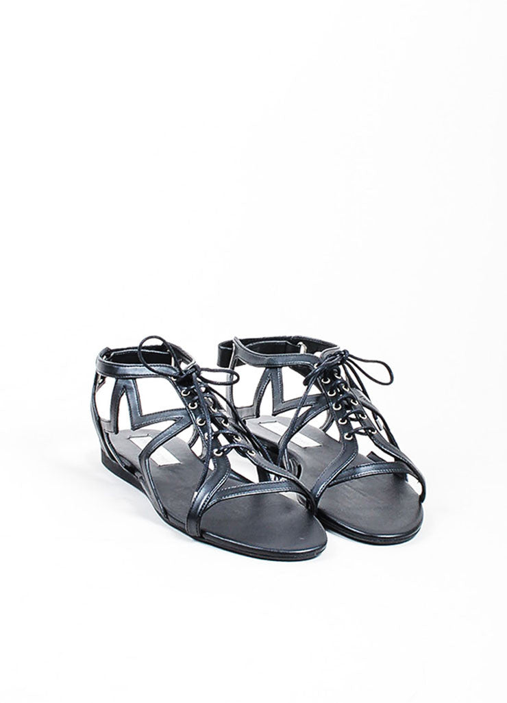 "Faux Leather Stella McCartney Star Cut Out ""Lucy"" Laced Sandals Frontview"