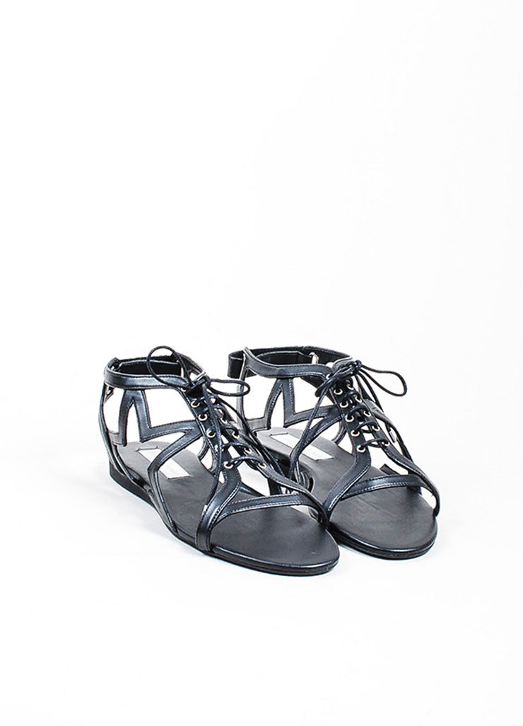 "Black Stella McCartney Faux Leather Star Cut Out ""Lucy"" Laced Sandals Frontview"