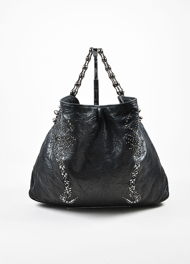 "Thomas Wylde Black Gunmetal Distressed Leather Jeweled ""Colossus Scorpion"" Bag Frontview"