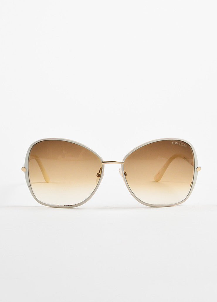 "White Tom Ford Gradient Lens ""Solange"" Square Frame Sunglasses Front 2"