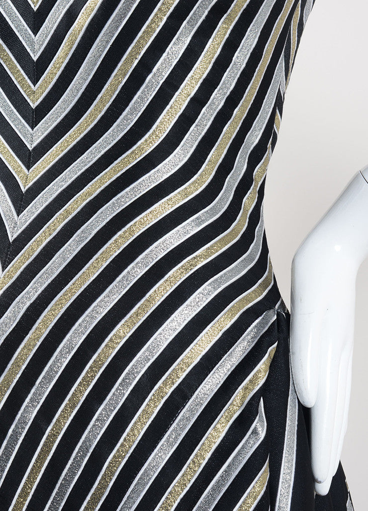 Bob Mackie Black, Gold, and Silver Stripe Metallic Full Length Strapless Gown Detail