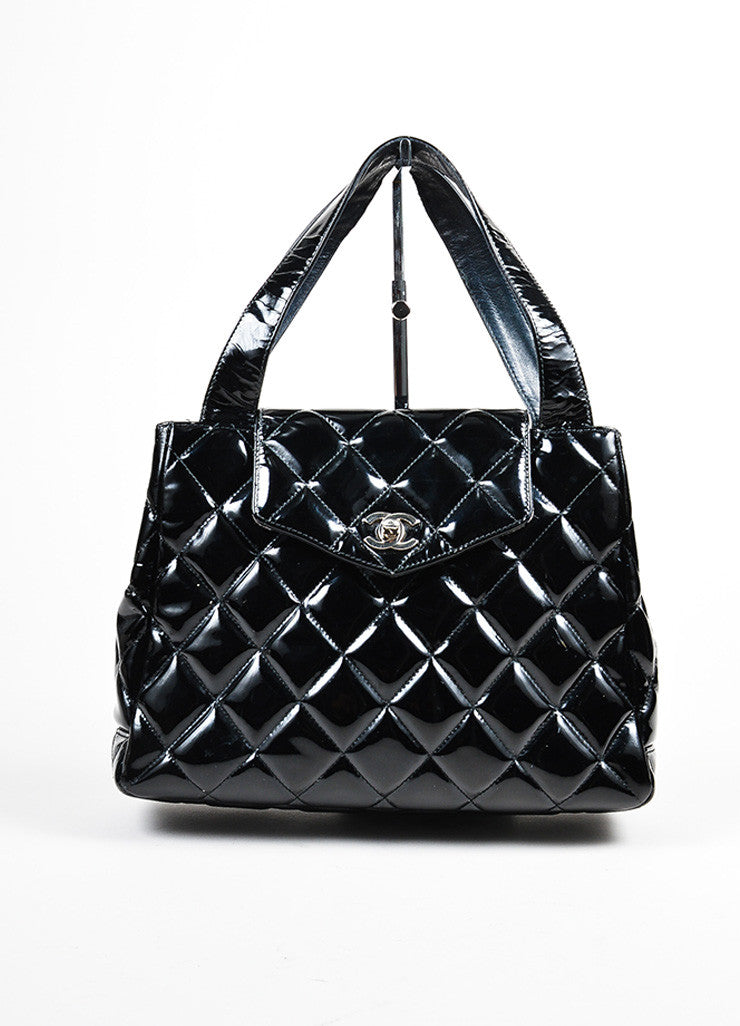 Black Chanel Patent Leather Quilted Top Handle Flap Shoulder Bag Frontview