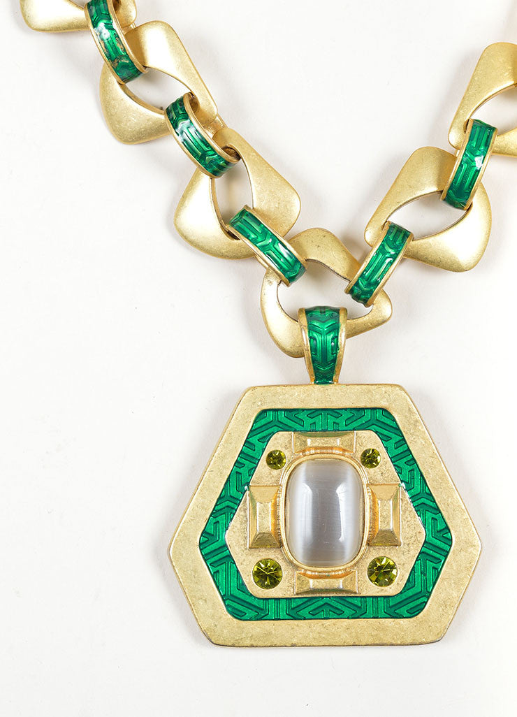Gold Toned and Green Enamel, Crystal, and Stone Geometric Pendant Chain Necklace Detail