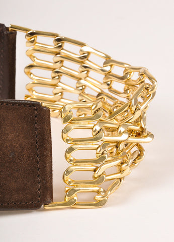 Valentino Brown Suede Gold Toned Chain Link Belt Detail