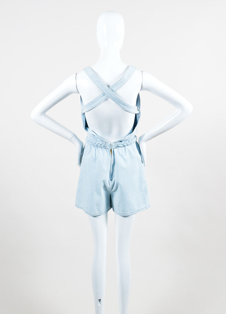 Light Blue Valentino Denim V-Neck Braided Trim Sleeveless Romper Backview
