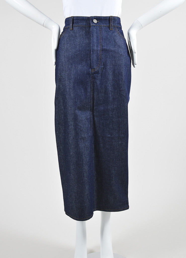 Victoria Beckham Jeans Dark Blue Denim Slit Midi Pencil Skirt Frontview
