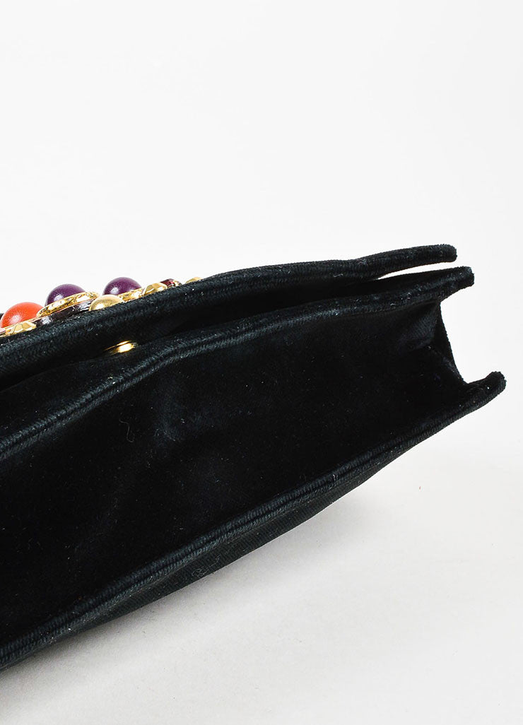 "Yves Saint Laurent Black and Multicolor Velvet Bejeweled Cross ""Byzance"" Clutch Bag Bottom View"