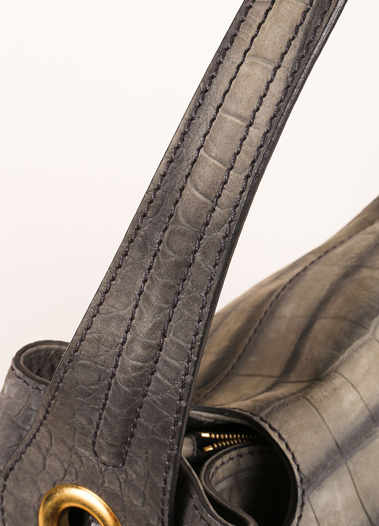 "Yves Saint Laurent Grey and Gold Toned Crocodile Embossed Leather ""Capri"" Hobo Bag Detail 2"