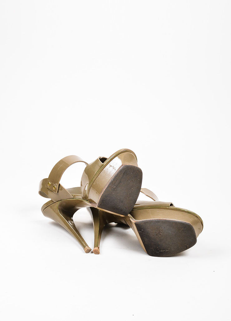 "Taupe Yves Saint Laurent Patent Leather Stud ""Tribute"" Sandals Outsoles"